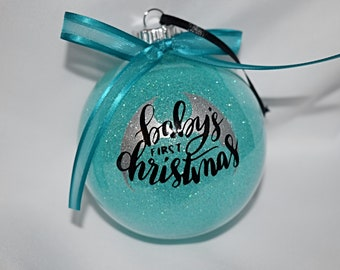 Christmas Ornament - Baby's First Christmas - Blue Glitter Ornament - Blue Baby's First Christmas - Glitter Christmas Ornament - 7-007
