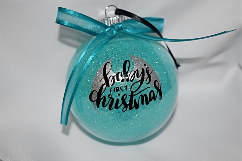 Christmas Ornament  Baby's First Christmas  Blue Glitter image 0
