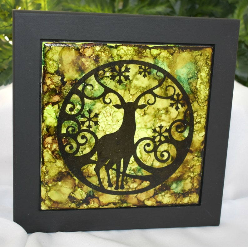 Framed Ceramic Tile Art  Fairy Silhouette Scene  Fairy Scene image 0