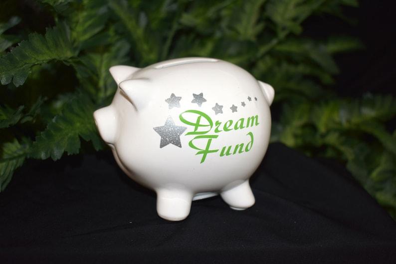 White Ceramic Piggy Bank  Dream Fund  Small Piggy Bank  image 0