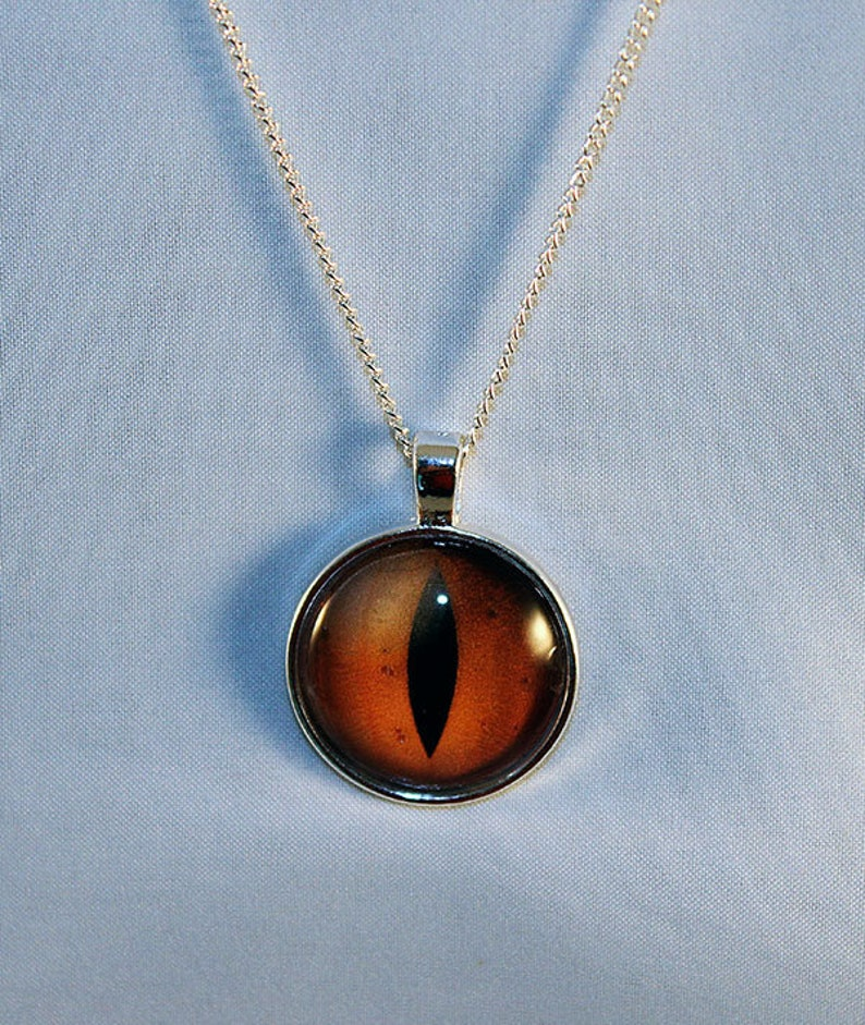 Yellow Handcrafted Glass Dragon Eye Necklace  Yellow Dragon image 0