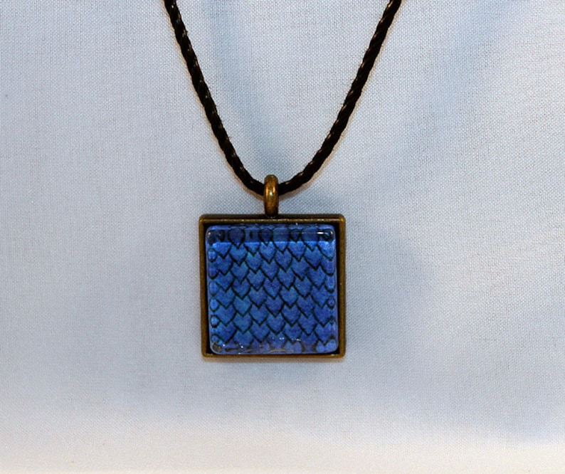 Blue Handcrafted Glass Dragon Scale Necklace  Dragon Scales  image 0