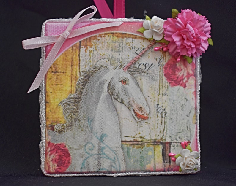 3 x 3 Rice Paper Mixed Media Canvas  Handmade Unicorn Canvas image 0