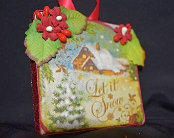 3 x 3 Rice Paper Mixed Media Canvas - Handmade Christmas Canvas - Ornament Canvas - Mixed Media Canvas - Small Christmas Ornament - 11-010