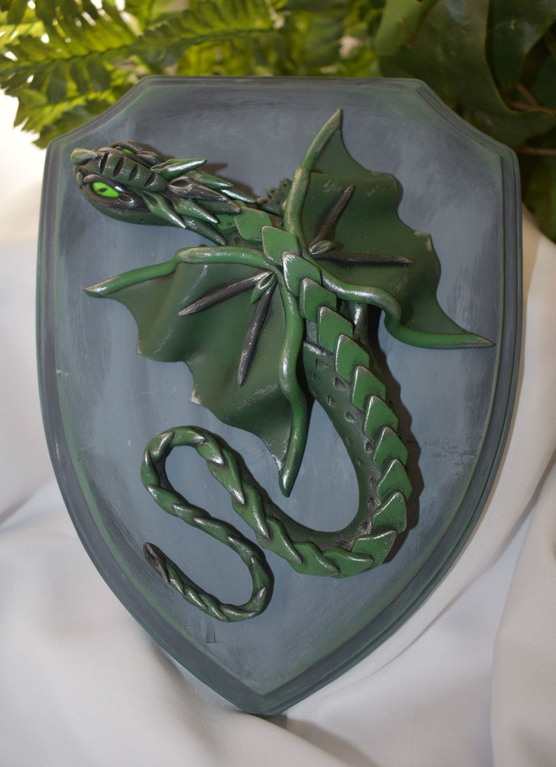 Polymer Clay Green Dragon Decor  Green Dragon with Arrows  image 0