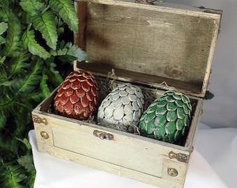 NEW Medium Dragon Egg Set in Chest - Dragon Eggs - Dragon Egg Set - Dragon Storage - Dragon Egg Chest - Clay Dragon Eggs - 8-010