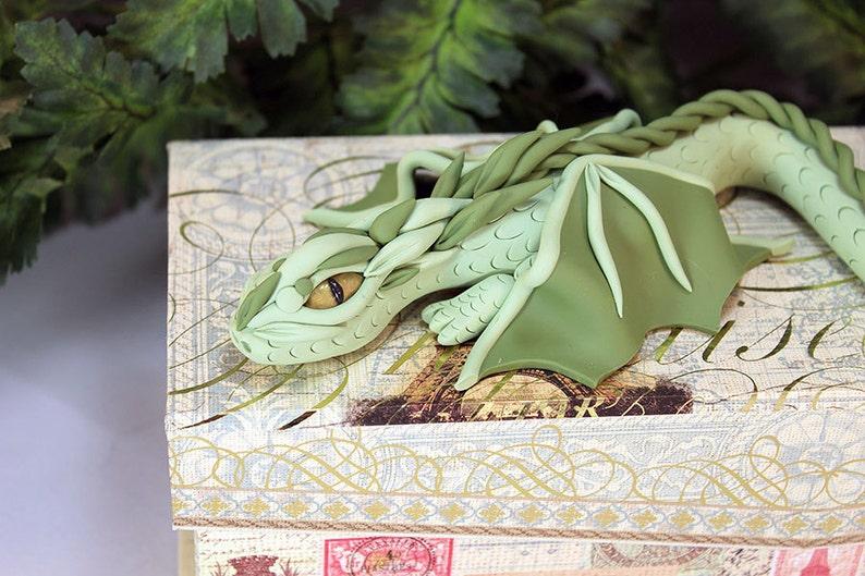 Polymer Clay Green Dragon on Pencil Box  Dragon Sculpture  image 0