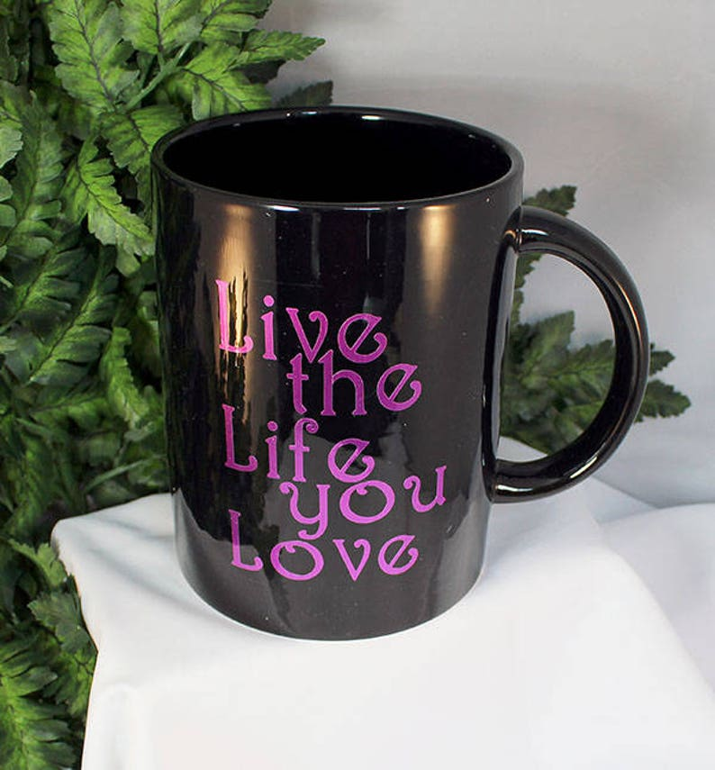 Black 70oz Purple Fairy Coffee Mug  Live the Life You Love image 0