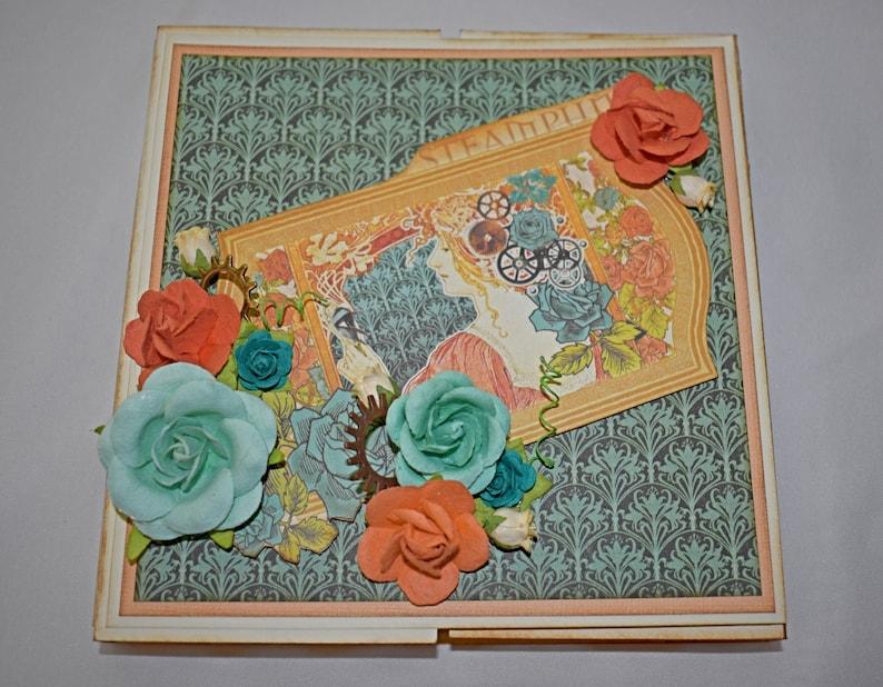 Scrapbook Album Booklet  Mini album  Photo Album  Steampunk image 0
