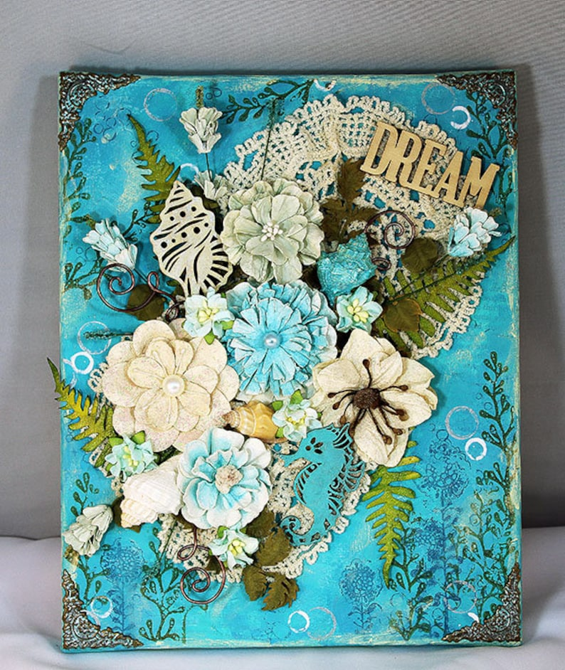 8 x 10 Handmade Mixed Media Canvas  Handmade Flower Canvas  image 0