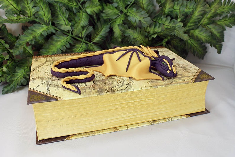 Polymer Clay Purple and Gold Dragon on a Book  Large Dragon image 0