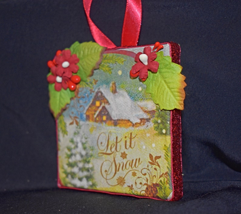 3 x 3 Rice Paper Mixed Media Canvas Mixed Media Canvas 11-010 Ornament Canvas Small Christmas Ornament Handmade Christmas Canvas