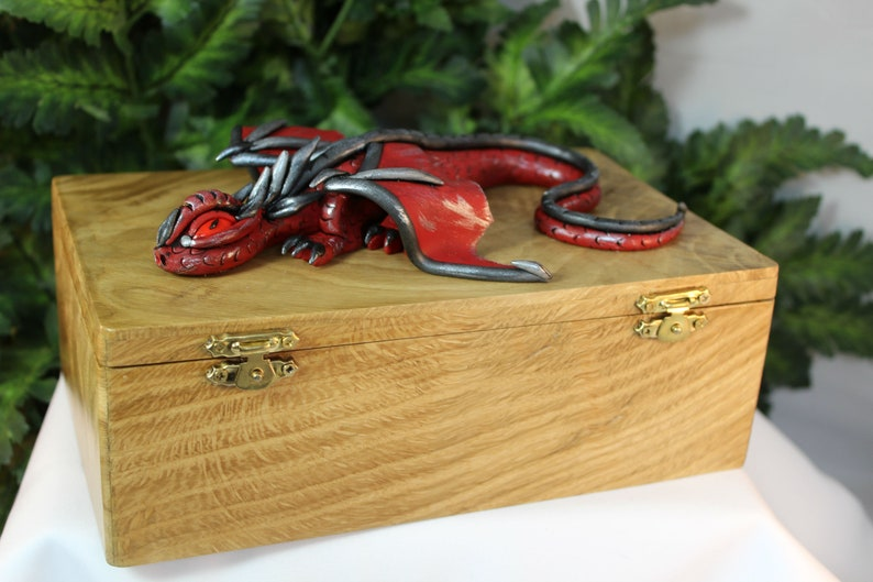 Polymer Clay Red and Black Dragon on Natural Wood Box  Dragon image 0