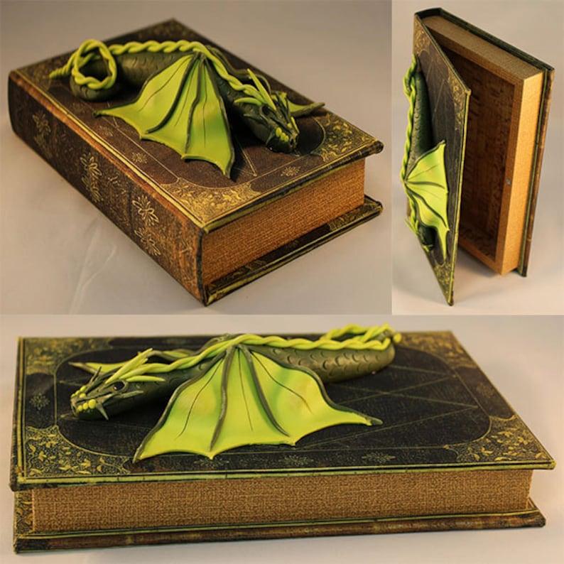 Polymer Clay Green Dragon on Book  Dragon Book  Dragon image 0