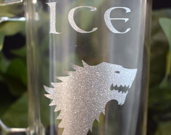 NEW Stark of Winterfell 12oz Mug - Beer Mug - Glass Stein - GOT Mug - House Stark Decal - Decorated Mug - Glass Mug - 12oz Beer Mug - 9-097