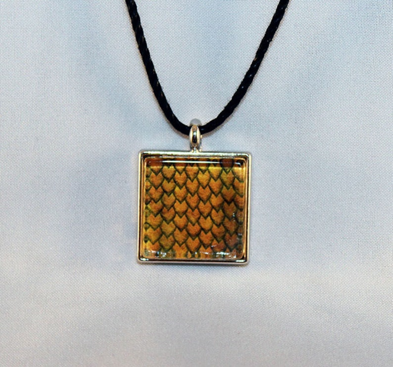 Yellow Handcrafted Glass Dragon Scale Necklace  Dragon Scales image 0