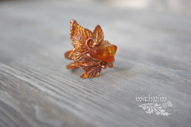 Amber ring with leaves Autumn ring Copper handmade ring Free size ring Elven ring Electroforming Botanical jewelry 7th Anniversary gift idea