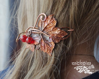 Red currant Hair Barrette, Pony tail holder,  hair slide barrette, bun holder, Hair Stick, Hair Fork, hammered copper hair pin, hair jewelry