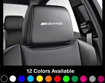 x6 Mercedes AMG - Motorsport Headrest Car Seat Decals Stickers Graphics Logo Badge - Class A B C E S Gla Cla A45 C63 - All models