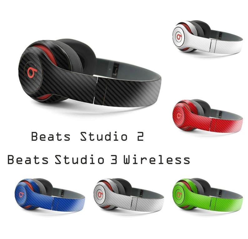 Beats by Dre STUDIO 2 & STUDIO 3 Wireless Carbon Fiber Look 3d Skin Wrap  Decal Cover Sticker Style Vinyl Accessory 10 Colors - NO Headphones