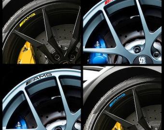 Mercedes Benz AMG Rims Alloy Wheel Decals Stickers Class A B C E S Slk Clk Cl Sl C63 C45 Gla Cla A45 C63 - All models