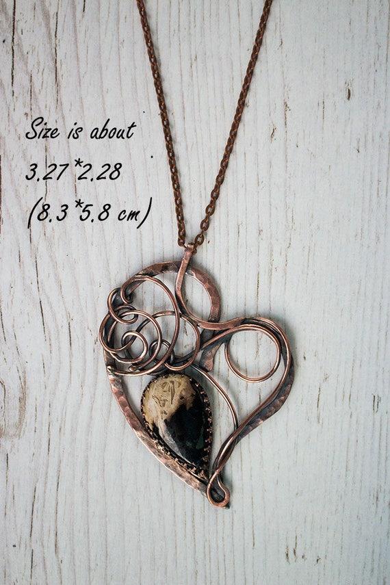 Kupfer-Herz-Anhänger Draht umwickelt Halsketten für | Etsy