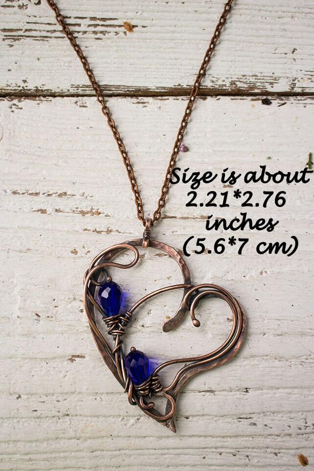 Draht gewickelt Kristall Herzanhänger Halskette für Frauen | Etsy