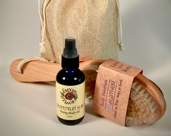 Grapefruit Slim Gift Set | Toning Body Oil + Dry Skin Brush | Viking Beauty Gift Set