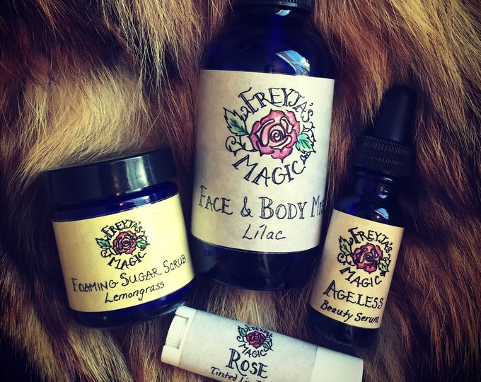 Featured listing image: Viking Woman Ageless Beauty Gift Set | Foaming Sugar Scrub, Toner and Serum + Rose Lip Balm