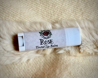Rose Lip Balm | Tinted Lip Balm With Alkanet, Rose & Vanilla | Smooth, Rich, Floral, Moisturize + Protect | Light color for LIPS and CHEEKS!
