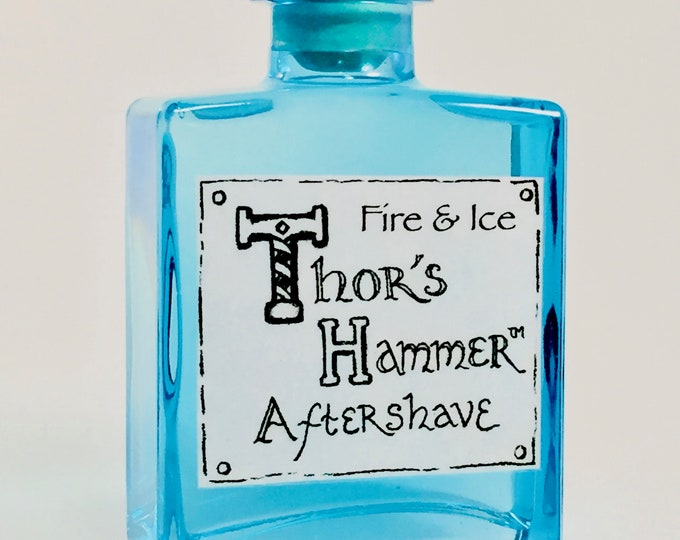 Featured listing image: Fire & Ice Aftershave Limited Edition | Thor's Hammer Fire and Ice | Viking Aftershave | Bergamot, Vetiver, Spearmint | All Natural 5 oz