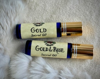 Gold & Wild Rose Perfume Oils | Cannabis + Amber, Rose Otto + Rock Rose | Viking Perfume Oils | Norse Magic Sacred Healing Oils