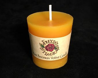 Pure Beeswax Votive Candle | 100% Montana Beeswax, Lead-Free Wick | Hand-poured Beeswax Candle | Viking Votive Candle | Nordic Votive Candle