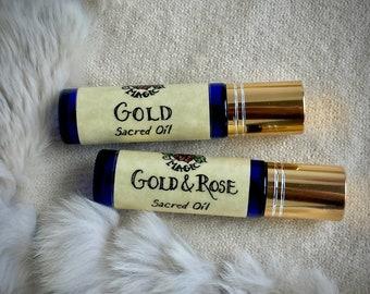 Perfume Oil Gold & Wild Rose | Cannabis + Amber, Rose Otto + Rock Rose | Viking Perfume Oils | Norse Magic Sacred Healing Oils