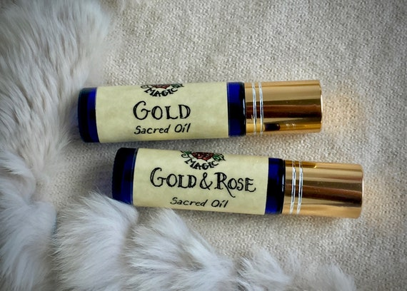 Sacred Healing Oils | Freyja's Magic Gold + Gold & Rose Perfume Oils | Viking Perfume Oil | Frankincense, Myrrh, Sandalwood, Rose, Balsam