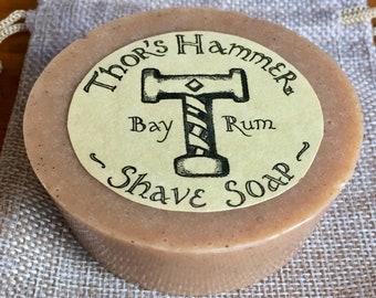 Bay Rum Shave Soap | Thor's Hammer Bay Rum Shaving Soap Puck | Wet Shave Soap | Viking Shave Soap | Organic Goat Milk & Bentonite Clay