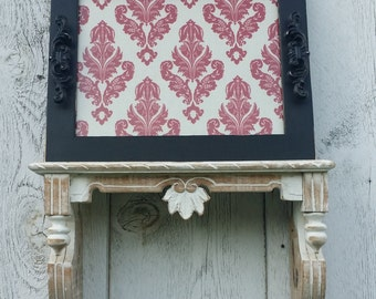 Black Distressed Tray with Decorative Black Handles & Red Damask Fabric