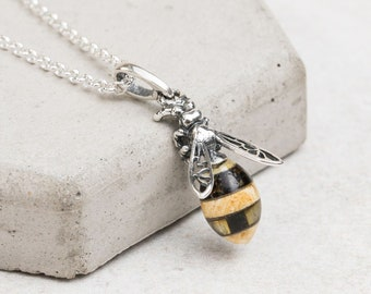Baltic Amber Bee Pendant Necklace Sterling Silver Bee Necklace Silver Bumble Bee Necklace Natural Amber Bee Silver Bee Pendant Bee Necklace