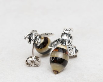 Silver Bee Earrings with Baltic Amber Bumblebee Earrings Baltic Amber Stud Earrings Amber Bee Earrings Amber Jewellery Sterling Silver
