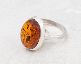 Classic Baltic Amber Ring Natural Amber Ring Sterling Silver Ring Genuine Amber Engagement Ring Amber Statement Ring Gift for Her