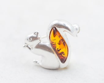 Baltic Amber Squirrel Brooch Sterling Silver Squirrel Brooch Natural Amber Pin Brooch Amber Squirrel Charm Woodland Creature Brooch