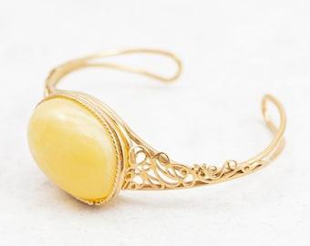 Yellow Amber Cuff Bracelet Baltic Butterscotch Amber Bracelet Wide Gold Plated Cuff Bracelet Gold Cuff Bracelet 14K Adjustable Bracelet