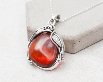 Cherry Baltic Amber Pendant Necklace Vintage Amber Necklace Art Nouveau Silver Pendant Amber Stone Large Amber Necklace Statement Necklace