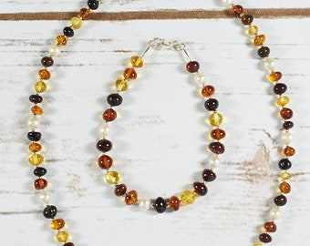 Baltic Amber Set Authentic Baltic Amber Pearl Set Amber Pearl Bracelet Necklace Modern Handmade Set Pearl Bracelet Necklace Autumn Gift