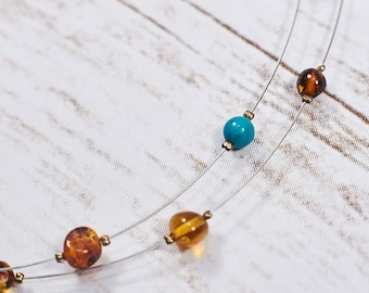 96bf750416a6 Natural Baltic Amber Necklace Natural Amber Turquoise Handmade Necklace  Choker Genuine Turquoise Sterling Silver Summer Gift Spring