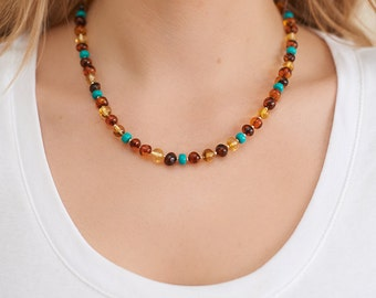 Natural Amber & Turquoise Set Baltic Amber Necklace Bracelet Natural Turquoise Bracelet Necklace Sterling Silver Beads Set Autumn Gift