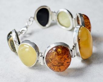 Natural Baltic Amber Bracelet Baltic Amber Stones Bracelet Genuine Amber Beads Elegant Bracelet Sterling Silver Statement Bracelet