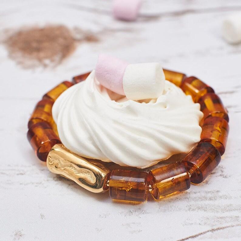 Baltic Amber Bracelet Genuine Amber Bracelet Sterling Silver Blacelet Man Bracelet Cognac Amber Handmade Jewelry Summer Gift