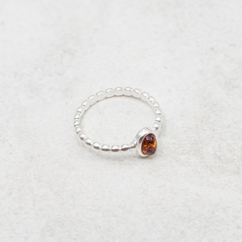 Minimal Amber Ring Dainty Baltic Amber Stacking Ring Sterling Silver Stacking Ring Natural Amber Engagement Ring Amber Stackable Ring