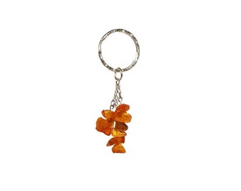 Keychain with Baltic Amber is a perfect Housewarming gift or Valentine's Day Gift
